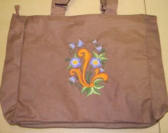Embroidered Pocket Tote Bag ~ Scandinavian Norwegian Rosemaling #857