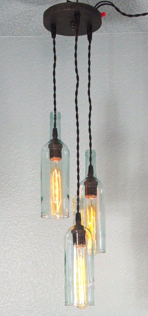 Items similar to 3 light wine bottle pendant fixture on etsy - Wine bottle light fixture chandelier ...