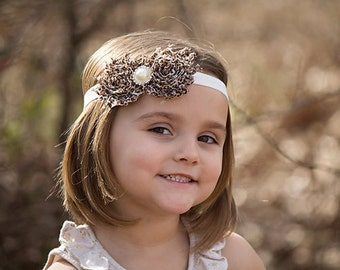 Cream Cheetah headband Leopard Headband Animal Shabby Chic Baby Headband-Baby Girl Headband-Newborn Headband-Baby Hairbows