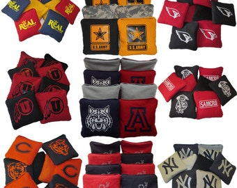 Custom Cornhole Bags - Set of 8 - Choose 2 colors and single color logo - 1 Year Warranty - Personalized Cornhole Bean Bags