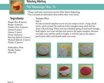 Felt Food Hamburger PDF Pattern and Instructions
