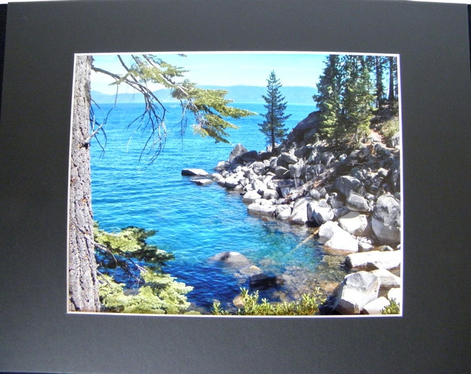BLUE LAKE TAHOE Wall Decor, Fine Art Landscape Photography, Matted Enlargement, Frame-Ready, Holiday Gift Idea
