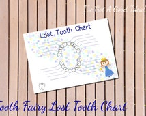 Tooth Fairy lost tooth chart - printable - boy