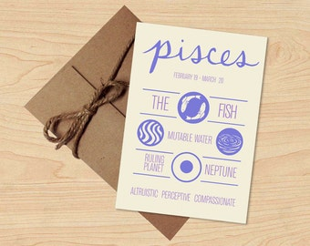 Summer Sale! Pisces Card! Astrological Sun Sign, Zodiac Design. Stationery, Birthday Gift. Envelope included.
