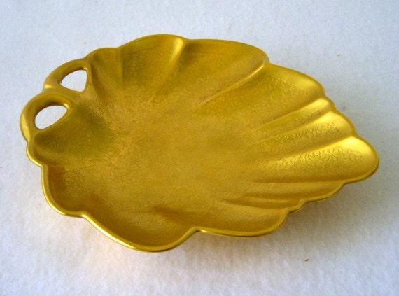 Pickard China Handled Candy Dish Leaf Shape 24k By Gsalehunter