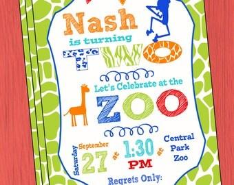 Zoo Birthday Party Invitation Zoo Animal Birthday Invitation