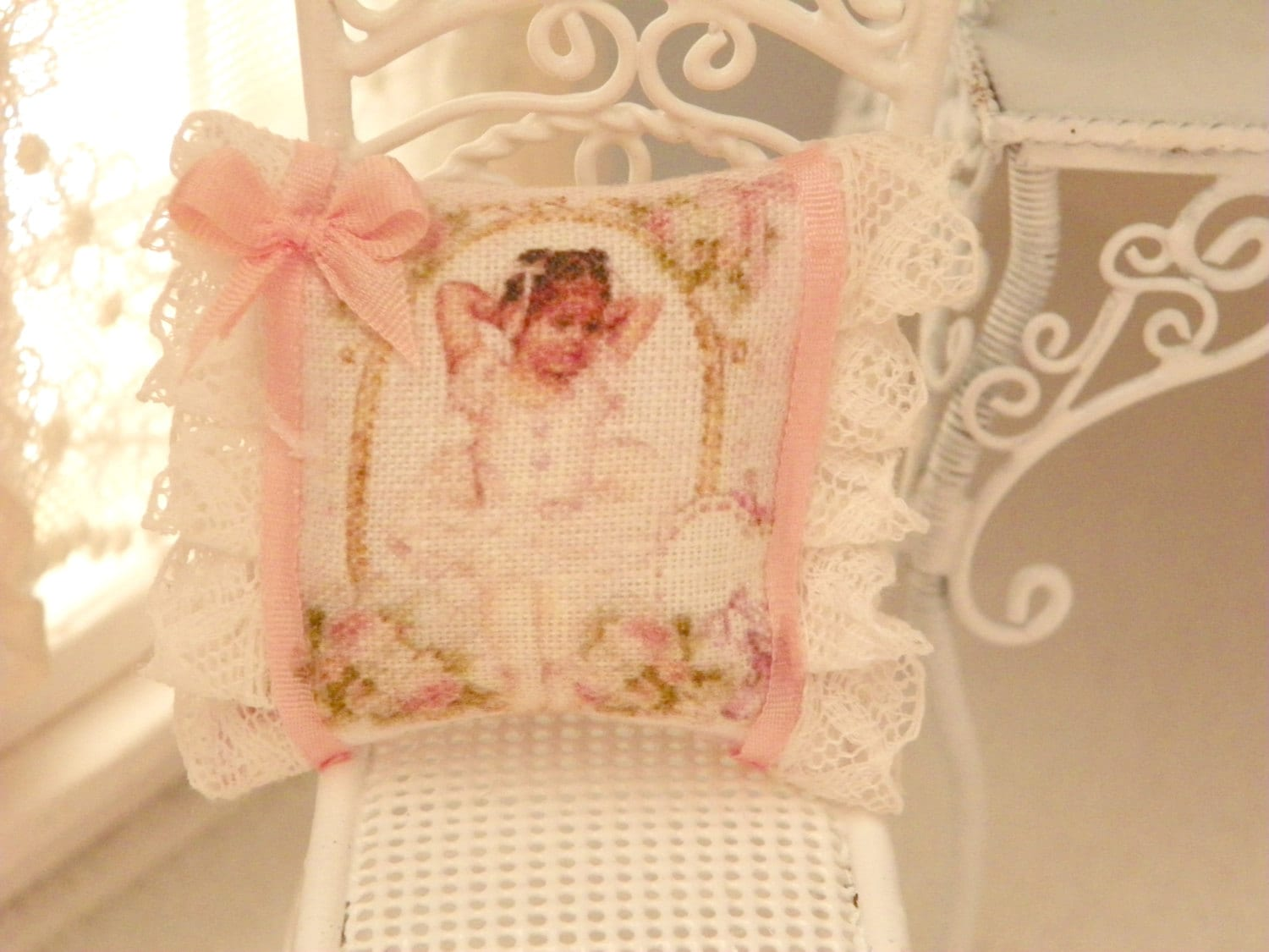 Small Shabby Chic Pillows : dollhouse shabby chic miniatures pillows
