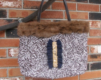 Knitted Hand Bag - Cashmere Bow - Anna Karenina Bag/Purse