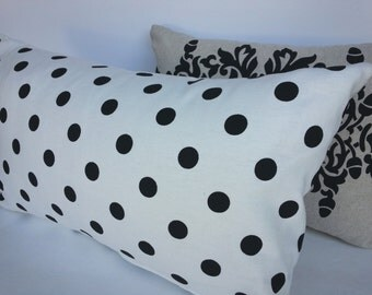 Modern Indoor White Pillow Cover with Medium Black polka dots and Hidden Zipper
