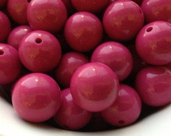 20mm Berry Pink Chunky Necklace Beads - WHOLESALE