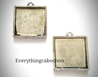 25mm/ 1 Inch Antique Silver Square Cabochon Setting, Pendant Bezel Tray, 4 pcs