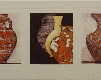 Roman Pots VI -An Original Collograph Print