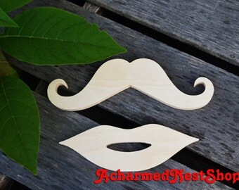 Wooden Mustache and Lips, moustache, mustache, fake moustache, do it yourself project, photo booth, photo booth props, party, stache