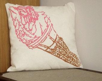 Ice Cream Cushion - 2 Coloured - Screenprinted on to canvas