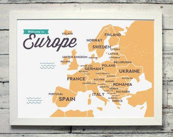 Map of Europe | # poster, map, print, vintage
