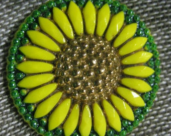 Sunny Sunflower in Yellow Czech Glass Button 27mm