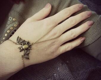 Bat ring bracelet Bat jewelry Brass hand flower Bracelet ring attached Slave bracelet Hand chain Boho jewelry Body slave jewelry Body harnes