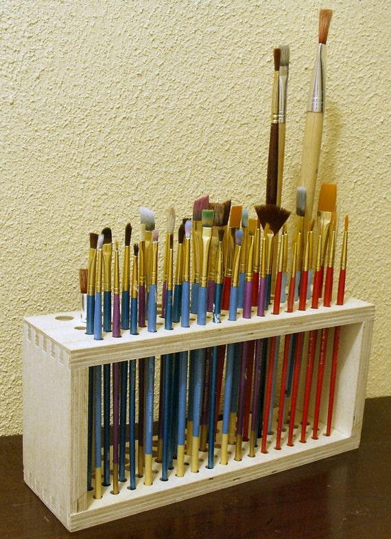Wooden Paintbrush Holder for Craft Brushes
