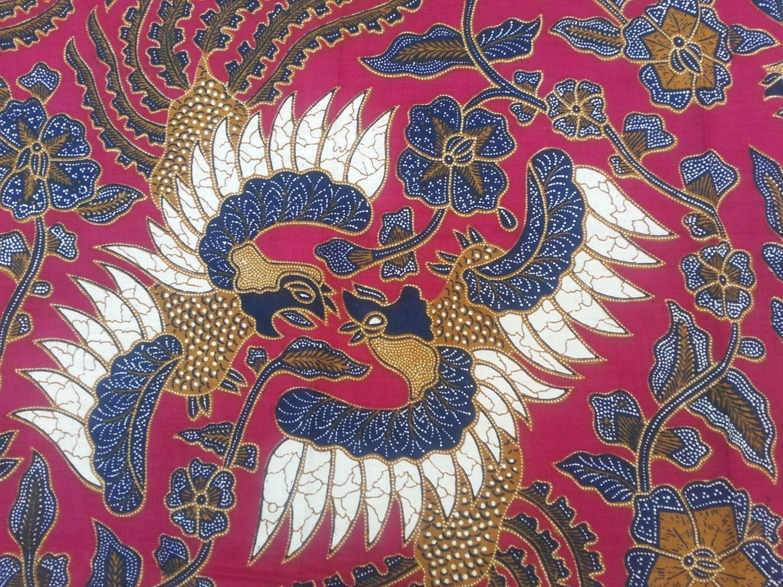 89 By 40 Batik Fabric Kesmatex Indonesia Red Black