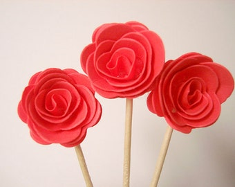 Set of 24Pcs - 3D 'ROSE ' Coral Party Picks, Cupcake Toppers, Toothpicks, Food Picks