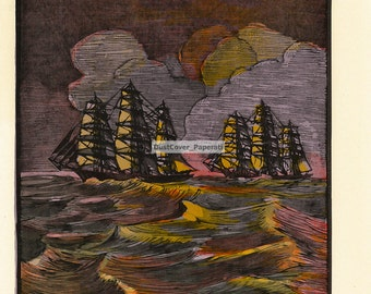 """Clipper Ship Book Plates. """"Sir Lancelot and Leander"""" by Jacques La Grange. Clipper Ships of America and Great Britain, 1833-1869.  (1936)."""