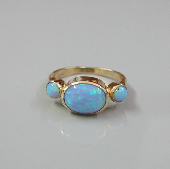 opal gold ring 14k yellow gold plated embedded by