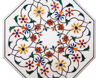Coffee table marble inlay side tables hand made stone inlaid pietra dura art