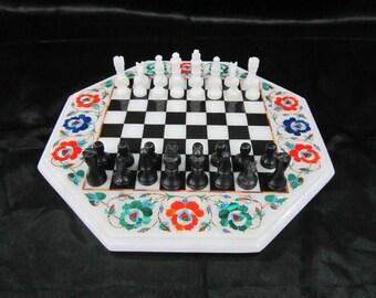Chess board Rare Vinatge Handmade Marble inlay game table antique look chess pieces pietradura stone inlaid art