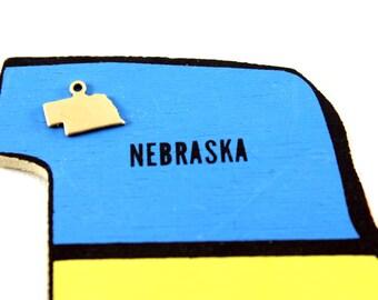 6x Brass Blank Nebraska State Charms - M073-NE