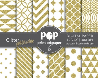 Gold digital paper - GLITTER gold white, glamorous, refined patterns, marriage invitation, blog header collage, beauty products packaging