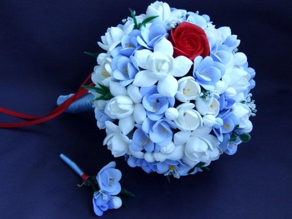 Alternative bouquet and boutonniere set, bouquet of handmade bridal bouquet, White gardenias and Blue freesias , Natural look bouquet