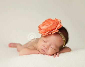 Delaney, Coral Headband, Coral Flower Headband, Baby Girl Headband, Baby Headband, Photo Prop, Newborn Prop, Baby Girl Photo Prop