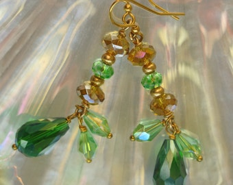 Forest Goddess Drop Earrings---Green and Golden Drops with Clusters of Green and Gold Sparkling Glass Beads