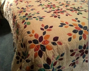 "Queen size  bed quilt in appliqued in ""Falling Leaves"" design"