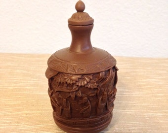 Vintage ornate resin snuff bottle with spoon, Asian design, brown, paperweight