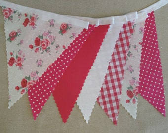 5m Length - Bunting in Pink Floral Roses, White, Spot & Gingham - Shabby Vintage Style - Wedding