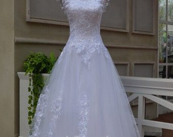 Vintage White Lace Sweetheart Wedding Dress Backless Wedding Gown With Train