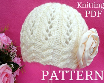 Knitting PATTERN Baby Girl Hat Beanie Knit Baby Hat Patterns Baby Bonnet Newborn Girl Baby Cap Children Clothes Knitted Baby Hat PATTERN