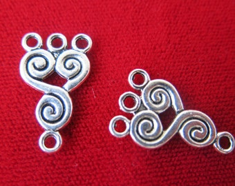 """10pc """"1 to 3 holes"""" connectors in antique silver style (BC427)"""