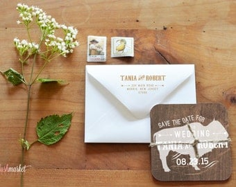 Save the Date Coaster, Buffalo Native American Rustic In The Woods with natural twine and printed envelope