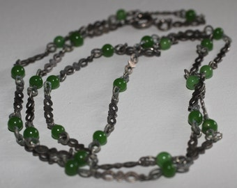 Vintage Green Glass Chain Necklace