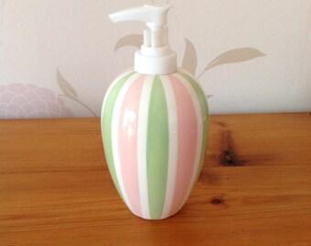 Hand Painted Ceramic Soap Dispenser - Pink/Green Stripes Design