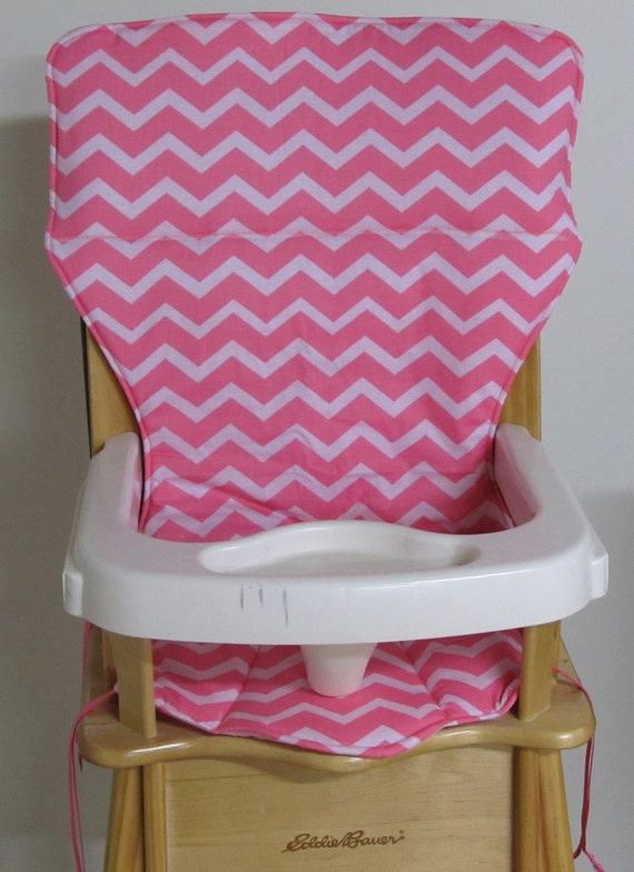 ... Jenny Lind Wooden High Chair Pad By Eddie Bauer High Chair Pad  Replacement Cover Zigzag Coral ...