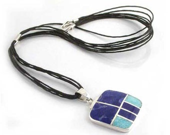 Sterling Silver, Lapis Lazuli and Turquoise Leather Necklace