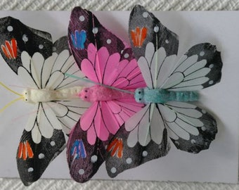 Butterflies, Toppers, Wire, Florists, Craft, Feathers. Set 4