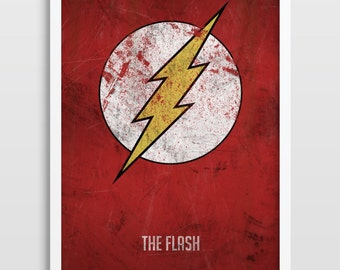The Flash Poster, Superheroes, Superhero Wall Art, Distressed Art Print, DC Comics, Superhero Art Print, Bedroom Decor, Kids Wall Art.