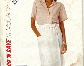 """McCalls 3563    EASY """"Stitch and Save""""  Misses Wrap Skirt, Top  size 10, 12, 14  uncut"""