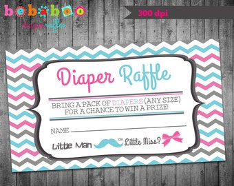 Baby Shower Diaper Raffle Ticket/Diaper Raffle Ticket/Chevron Diaper Raffle Ticket/Gender Reveal Diaper Raffle/Baby Shower Card/Printable