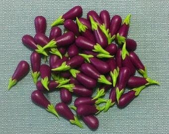 20 Miniature Eggplants Aubergines Clay Polymer Purple Green Vegetables Veggies Cute Little Small Dollhouse Fimo Food Jewelry Supplies 1/12