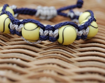 Trendy Navy and Gray TENNIS Bracelet  - More cord colors and sports theme options available